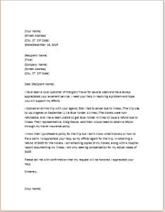 travel insurance claim letter template