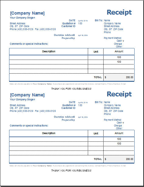 MS EXCEL General Receipt Template | Word & Excel Templates