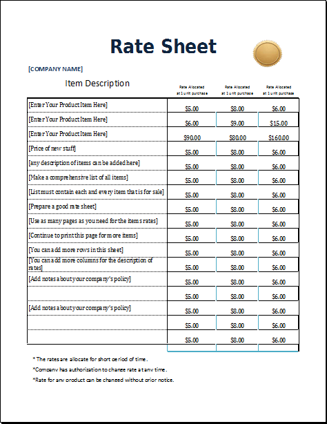 rate sheets templates - 4 excel sheet templates for everyone word excel templates