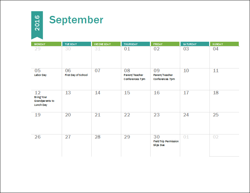 Academic Calendar 2016 2017