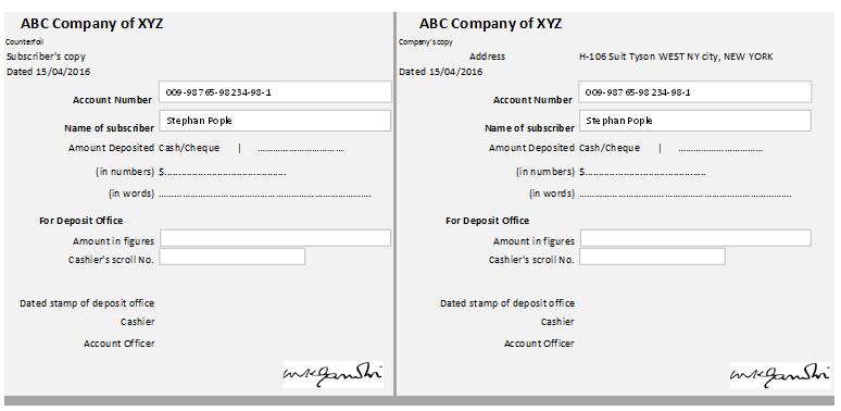 account receipt template