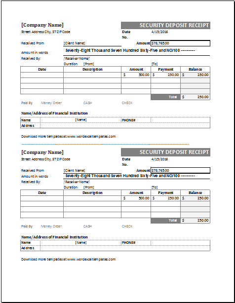 Security Receipt Template For Excel Word Amp Excel Templates