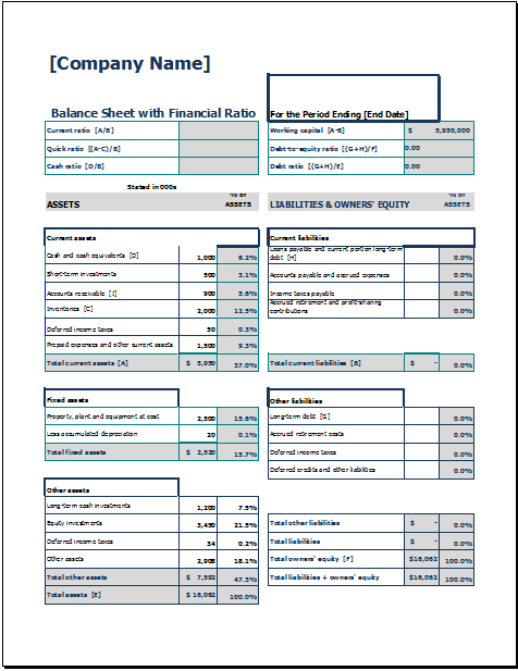 Balance Sheet With Financial Ratio Word Excel Templates