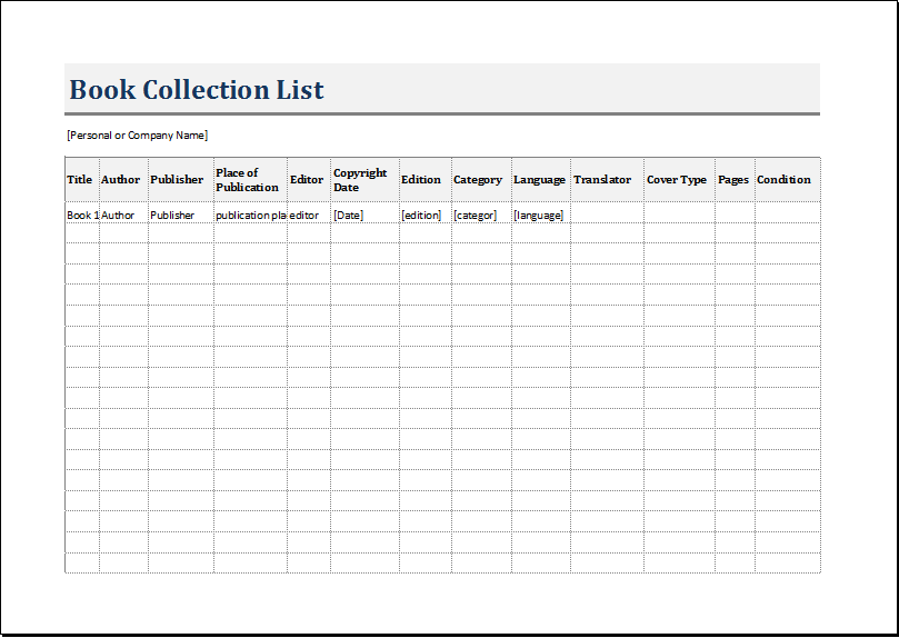 Book Inventory List Template for EXCEL – Inventory List