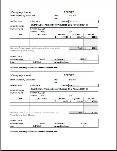 Duplicate receipt template