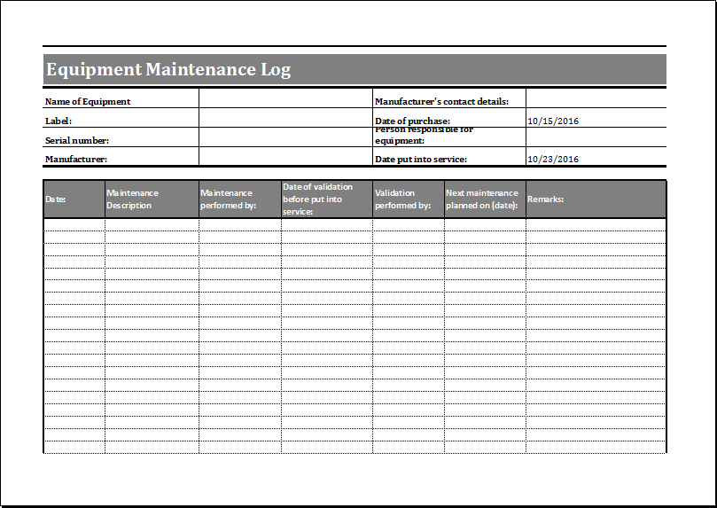 Equipment maintenance log