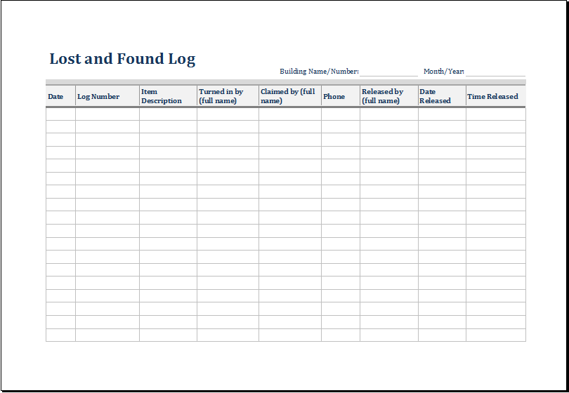 Lost And Found Log Template Excel Word Amp Excel Templates