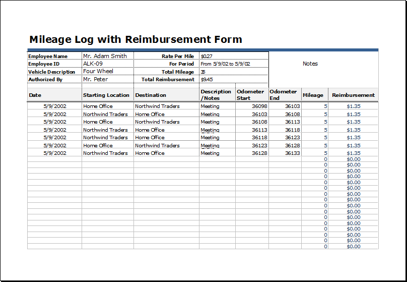 Mileage log with reimbursement form