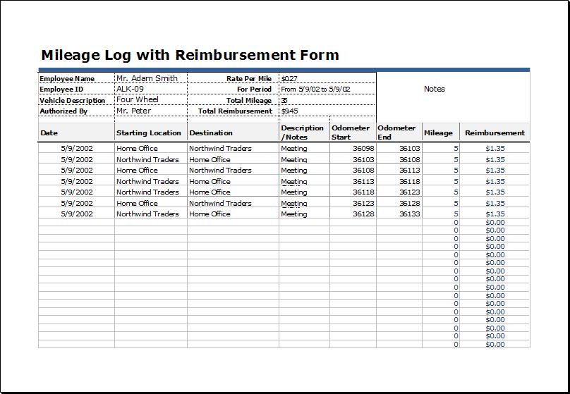 Mileage log with reimbursement form
