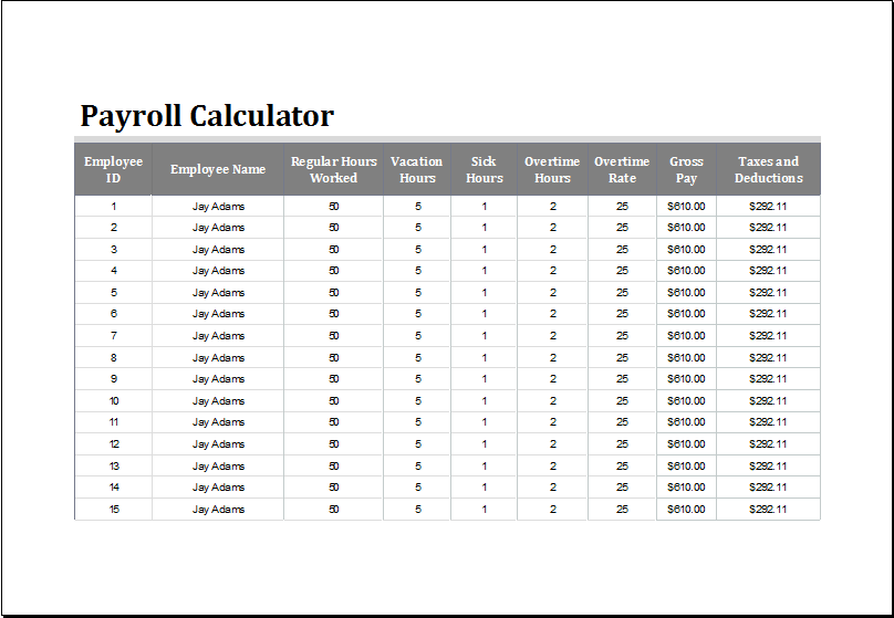 payroll calculator template for excel word amp excel templates