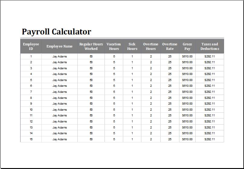 Payroll calculator