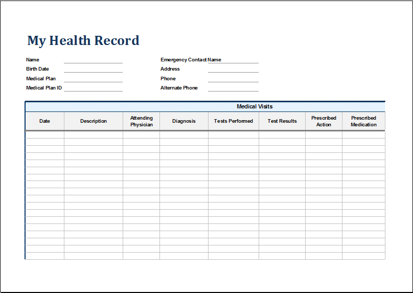 Personal medical health record sheet