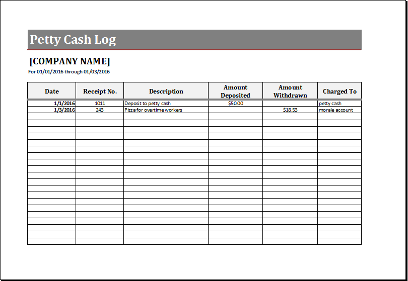 Petty cash log