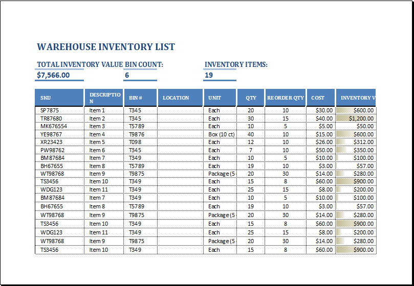 warehouse inventory list