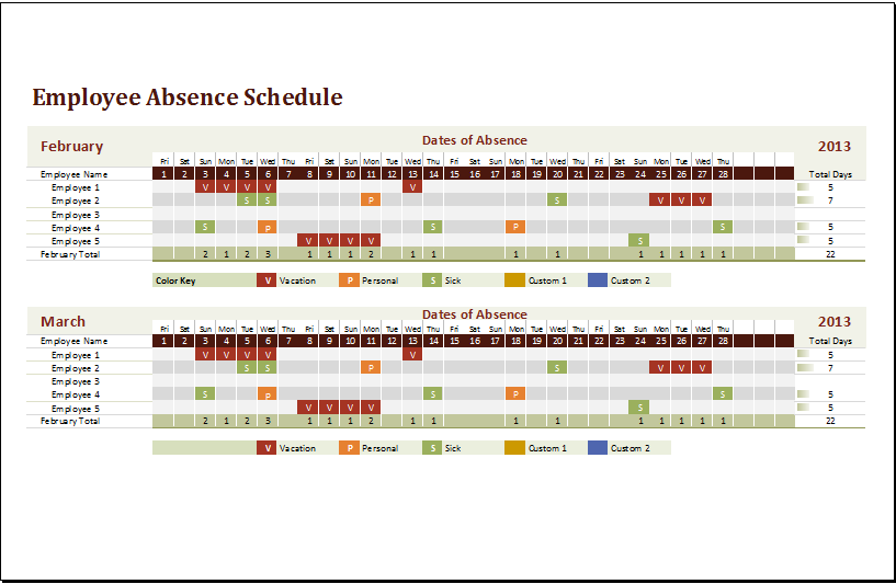 employee absence schedule template for excel word