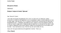 Agreement letter sample