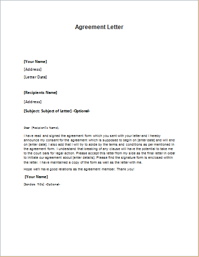 Agreement Letter Template For Word Word Amp Excel Templates