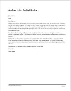 Bad Driving Apology Letter