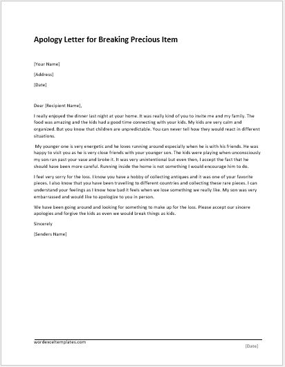 Apology Letter Templates For Word Word Amp Excel Templates