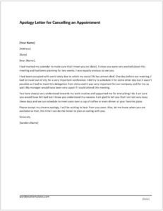 Apology Letter for Cancelling an Appointment
