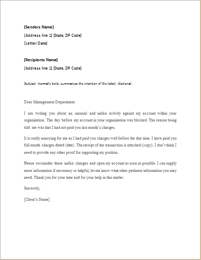 Letter Of Appeal Sample from www.wordexceltemplates.com