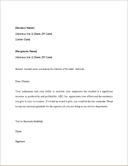 appreciation letter template for word