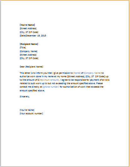 Authorization letter template for word doc word excel for Notarized letter of authorization template