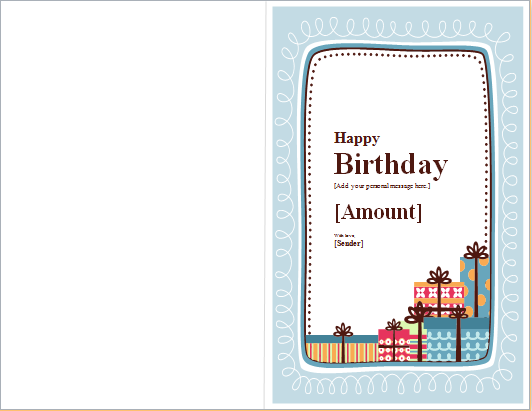 Birthday Note Card Template for WORD