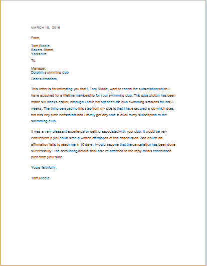 Service Cancellation Letter Templates Doc