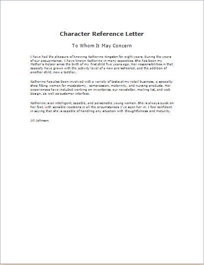 Sample Character Reference Letter For Court from www.wordexceltemplates.com