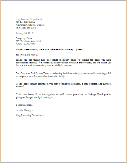 Complaint Response Letter Template Doc Word Excel Templates