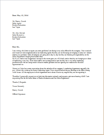 Grievance letter template