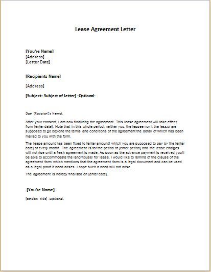 rental agreement letter lease agreement letter template word amp excel templates 1567