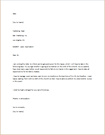 Leave Application Letter Template for WORD | Word & Excel