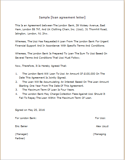 Loan Agreement Letter Template for WORD – Agreement Letter for Loan