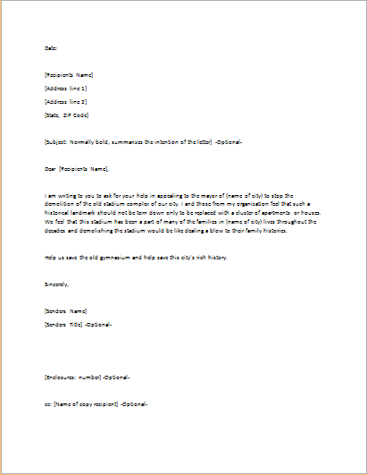 Persuasive Letter Template for WORD c