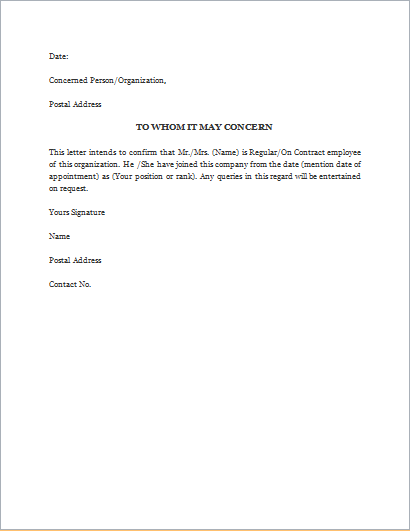 Proof Of Employment Letter  Employment Verification Letter Template Word
