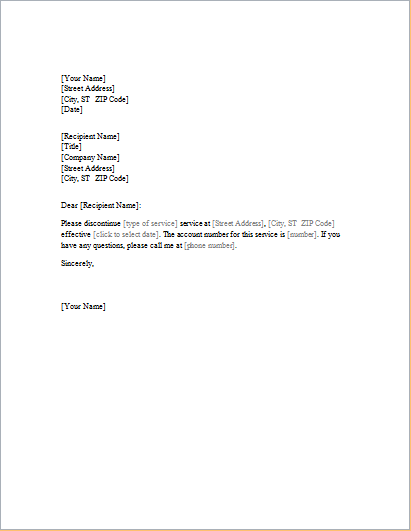 Service Cancellation Letter Templates MS Word format  doc