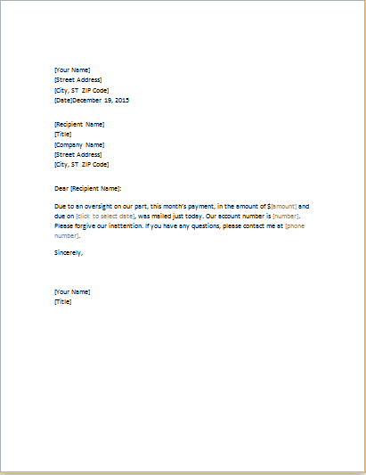 Apology Letter Templates for WORD – Apology Letter for Being Late
