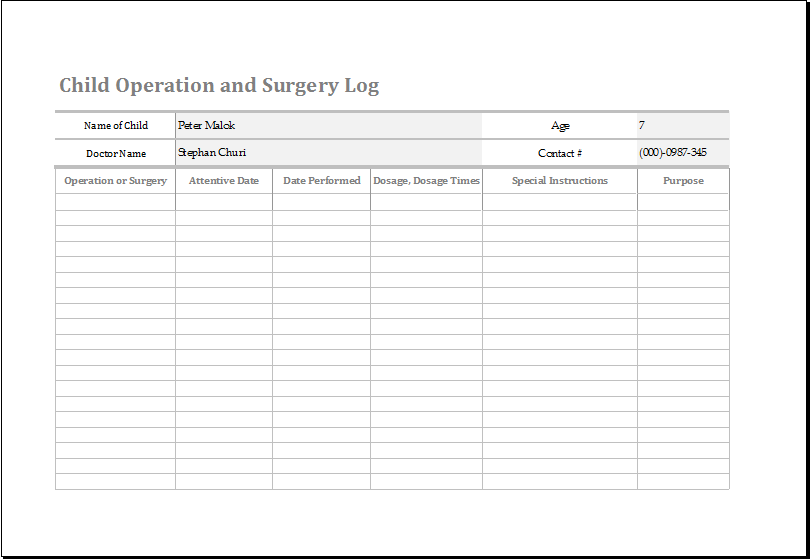 Child operation and surgery log