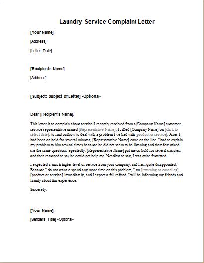 Laundry service complaint letter