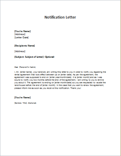 Notification letter sample template word excel templates for It notification email template