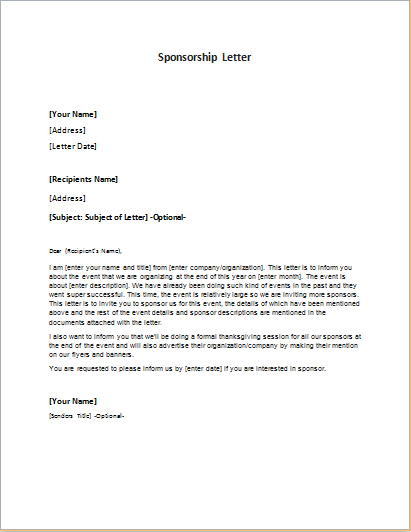 Sponsorship Letter Templates for MS WORD – Letter Sponsorship
