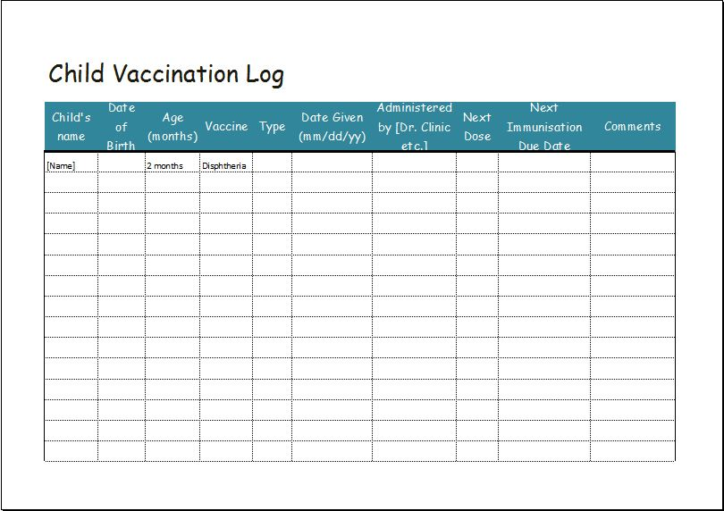 Child vaccination log