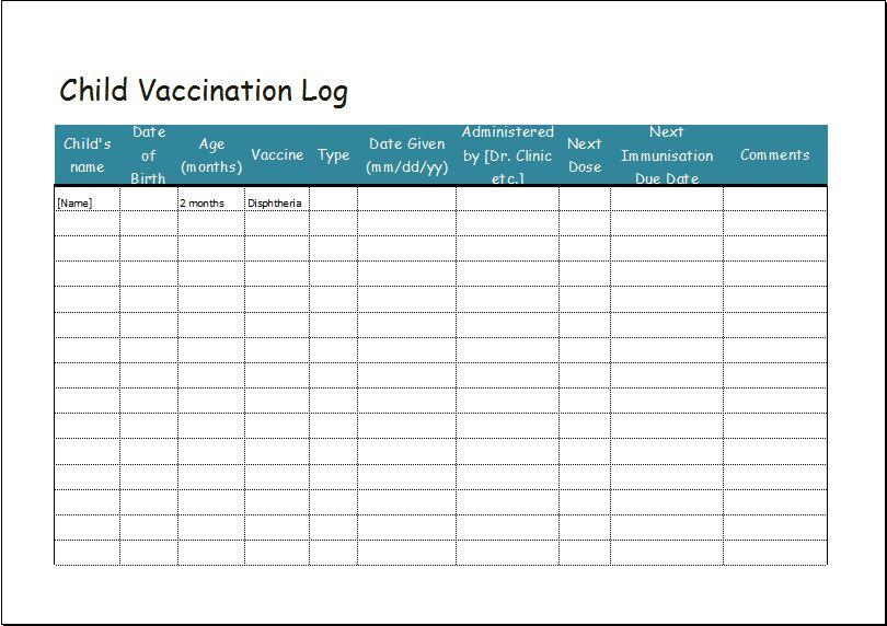 Child vaccination log