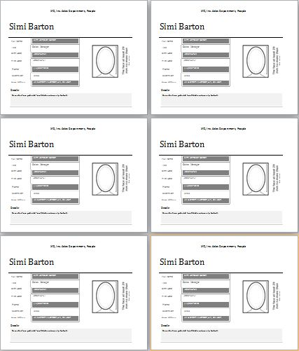Employee Profile template for MS Word