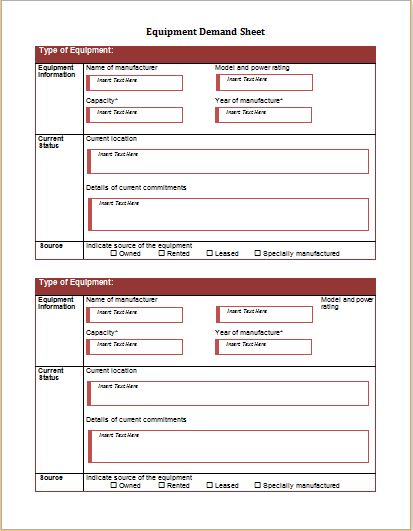 equipment demand sheet template for word