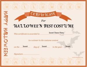 Halloween Best Costume Award Certificate for MS Word