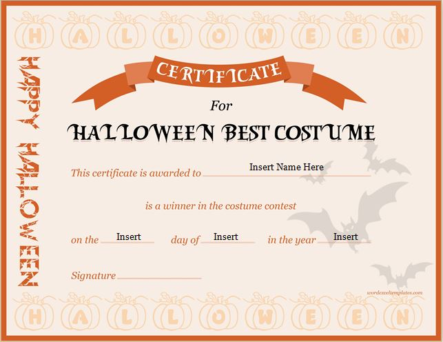 Halloween Best Costume Certificate Templates  Word  Excel Templates