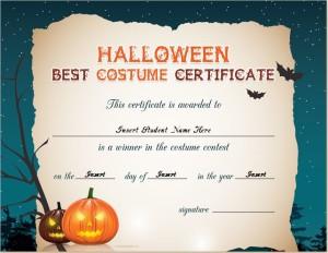Halloween Best Costume Certificate for WORD